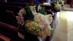 Catholic Church Pew Flowers Stock Footage