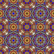 Rich with saturated colors, beautiful medieval ornament. Seamless floral pattern Stock Illustration