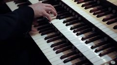 Man Playing Organ Close Up Stock Footage