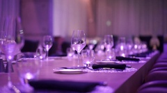 Glass of wine restaurant interior serving dinner Stock Footage