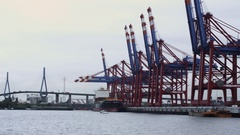 Hamburg harbour basin with Bridge in backround Stock Footage