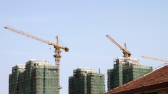 Construction site with cranes in Fengxian, China in 1080p Stock Footage