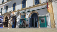 Office of a French bank in classic building Morocco Stock Footage