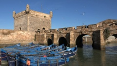 Skala de la Ville bastion and ramparts in Essaouira, Morocco Stock Footage