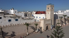 Historic city center of Essaouira town in Morocco, North Africa Stock Footage