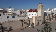 City walls of Essaouira, a popular tourist destination in Morocco Stock Footage