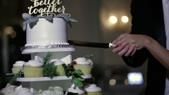 Bride and Groom Better Together Cake Cut Stock Footage