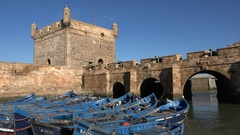Ramparts and defense wall of Essaouira town in Morocco Stock Footage