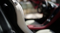 Eather interior of a sports car Stock Footage