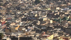 Rooftops of residential buildings in old city of Fez in central Morocco Stock Footage