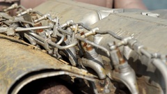 Detail of a motor of a ship. About engine, bolts, metal hose Stock Footage