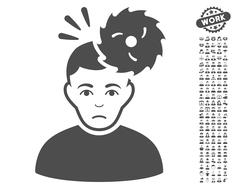 Headache Vector Icon With Bonus Stock Illustration