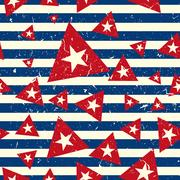 Vector Pattern 60s. Seamless Background Inspired Flag Of Cuba Stock Illustration