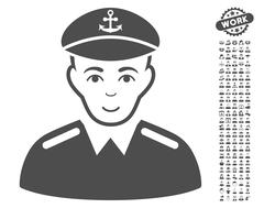 Captain Vector Icon With Bonus Stock Illustration