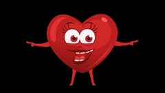 Cartoon Heart with Animated Face. 13th Pose Pointer Double. Alpha Channel Stock Footage