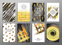 Trendy creative hand drawn cards collection with brush stroke patterns. Acrylic Stock Illustration