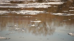 Ice floating on river Stock Footage
