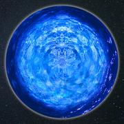 Blue sphere in outer space Stock Photos