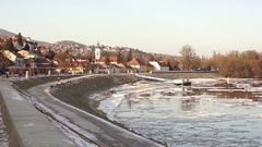 Small town, river danube Stock Footage