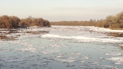 Icy Danube slow stream Stock Footage