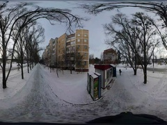 360 vr Video Street of Small City Wintry Panorama of Slavutich Five-Storey Stock Footage