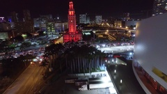 Miami City at Night (Red Lit Building) Stock Footage