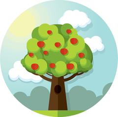 Round vector picture tree apples apple  among the clouds and sun on blue sky Stock Illustration