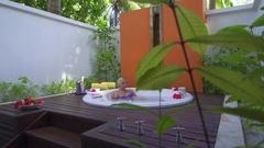 A woman bathing in a spa jacuzzi whirlpool bathtub hot tub. Stock Footage