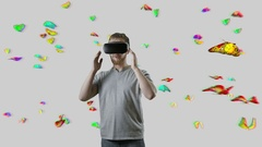 Man with VR gear glasses within butterfly cloud interactive touch virtual Stock Footage
