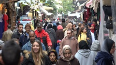 Busy shopping street in market Fez, Morocco, North Africa Stock Footage