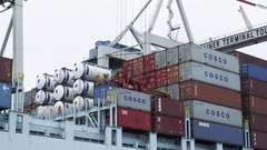 Big Container Vessel while Unloading Stock Footage