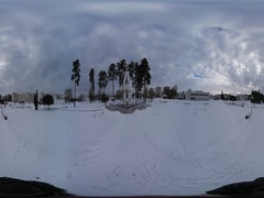 360 vr Video Walk Toward White Angel of Slavutich Christmas Pines on Wintry Stock Footage