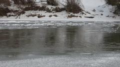 Winter mountain river in Carpathians, Ukraine Stock Footage