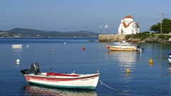 Boats and the Agios Petros church Stock Footage