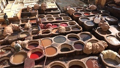 Beautiful overview of colorful vats of leather tanneries in Fez, Morocco Stock Footage