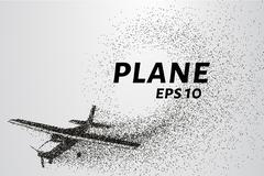 The plane of the particles. Passenger plane consists of small circles. Stock Illustration