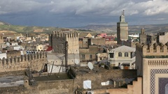 Beautiful overview of the old medina of Fez on a cloudy day Stock Footage