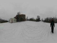 360Vr Video Red Brick Five-Storey House in Winter Trampled Road Snowy Park Stock Footage