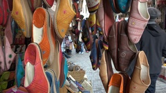 Traditional North African (Moroccan) slippers for sale in the medina of Fez Stock Footage