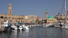 Small harbor historic city of Akko (Acre) in Northern Israel Stock Footage