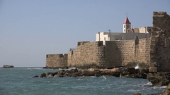 Historic city Akko with ancient city walls in Northern Israel Stock Footage