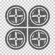 Nanocopter Screws Rotaion Grainy Texture Icon Stock Illustration
