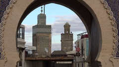 Entry gate to traditional medina, architecture old city Fez Morocco Stock Footage