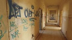 Corridor of destroyed hospital on Golan Heights, Israel, Six Day War Stock Footage