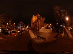 360 vr Video Kiev Cityscape New Year Eve People Amuse on the Holidays Near Stock Footage