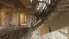Partly collapsed building in Golan Heights, Israel Stock Footage