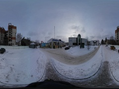 360 vr Video Wintry Dull Provintial Cityscape Slavutich Snowy Day Evening Stock Footage