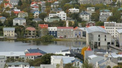 Top view of Reykjavik city with lake Tjornin in autumn time, calm cityscape Stock Footage