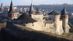 Old castle, stone fortress in Kamianets-Podilskyi city in western Ukraine Stock Footage