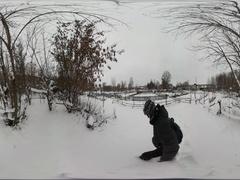 360Vr Video Man Walking Around Kitchen-Gardens Wintry Snowy Rural Landscape Stock Footage